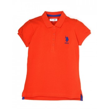 U.S. Polo Assn. Girls Casual Wear Solid Polo T-Shirt