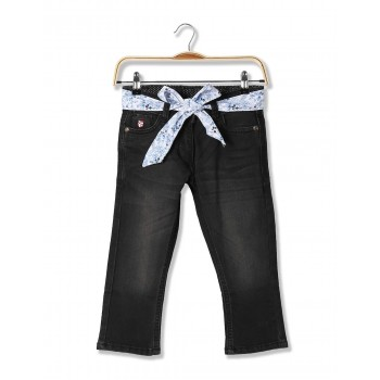 U.S. Polo Assn. Casual Wear Solid Girls Denim Capri