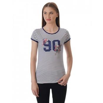 U.S. Polo Assn. Women Casual Wear Striped T-Shirt