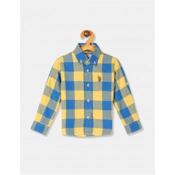 U.S. Polo Assn. Boys Checkered Yellow Shirt