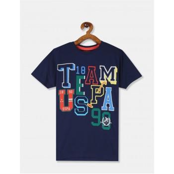 U.S. Polo Assn. Boys Printed Blue T-Shirt