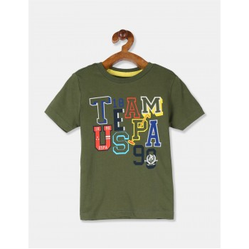 U.S. Polo Assn. Boys Printed Green T-Shirt
