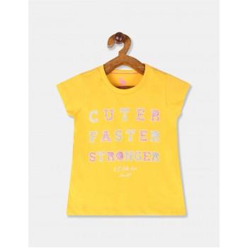 U.S Polo Assn. Girls Printed Yellow T-Shirt