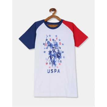 U.S Polo Assn. Boys Printed White T-Shirt