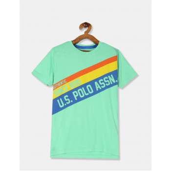 U.S Polo Assn. Boys Printed Green T-Shirt