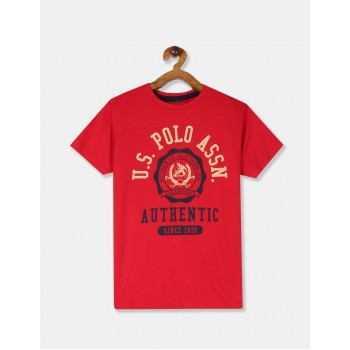 U.S Polo Assn. Boys Printed Red T-Shirt