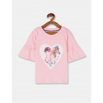 U.S Polo Assn. Girls Embellished Pink Top