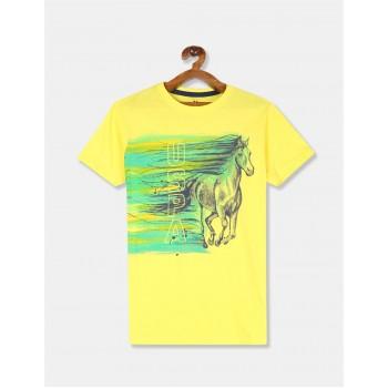 U.S Polo Assn. Baby Boy Printed Yellow T-Shirt