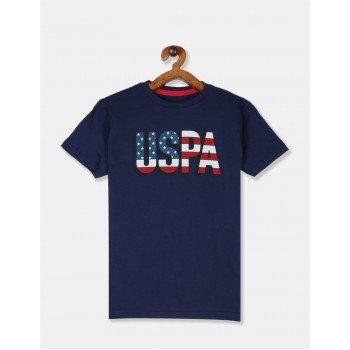U.S Polo Assn. Boys Printed Blue T-Shirt
