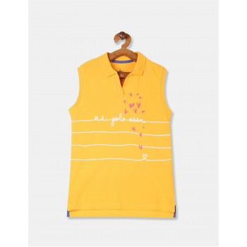U.S. Polo Assn. Girls Printed Yellow T-Shirt