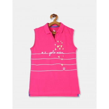U.S. Polo Assn. Girls Printed Pink T-Shirt
