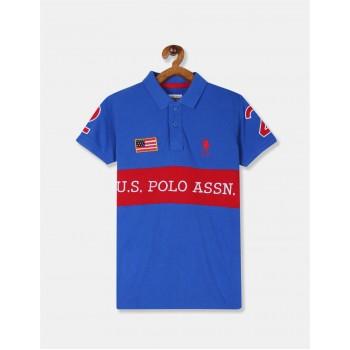 U.S. Polo Assn. Boys Applique Blue T-Shirt