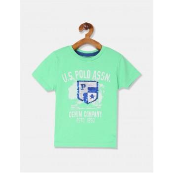 U.S. Polo Assn. Boys Embellished Green T-Shirt