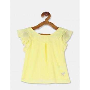U.S. Polo Assn. Girls Printed Yellow Top