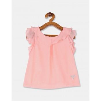 U.S. Polo Assn. Girls Printed Pink Top