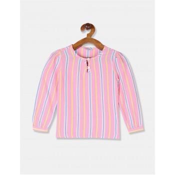 U.S. Polo Assn. Girls Striped Pink Top