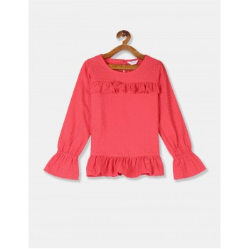 U.S Polo Assn. Girls Embroidered Red Top