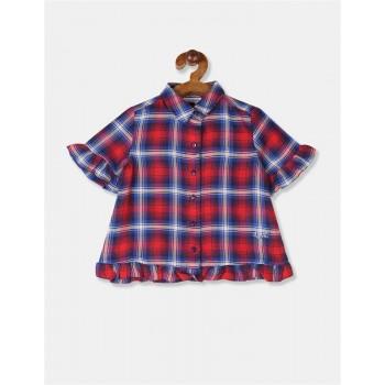U.S. Polo Assn. Girls Checkered Red Shirt
