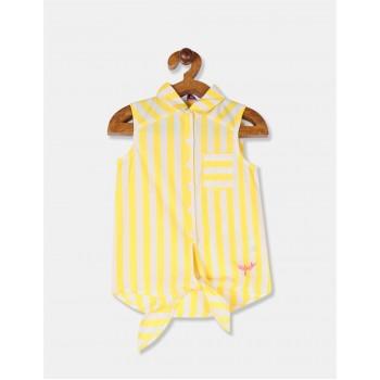 U.S. Polo Assn. Girls Striped Yellow Shirt