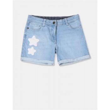 U.S Polo Assn. Girls Applique Blue Shorts