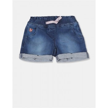 U.S Polo Assn. Baby Girl Solid Blue Shorts