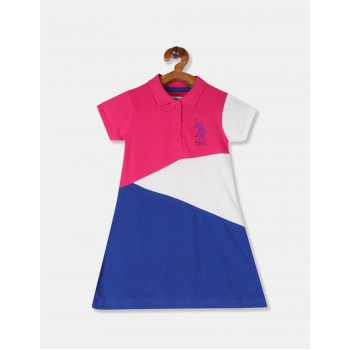 U.S. Polo Assn. Girls Solid Multicolor Dress