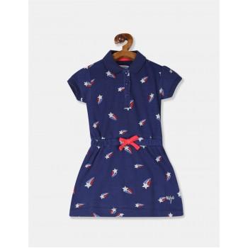 U.S. Polo Assn. Girls Printed Blue Dress