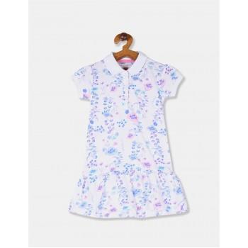 U.S. Polo Assn. Girls Printed White Dress