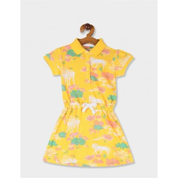 U.S. Polo Assn. Girls Printed Yellow Dress