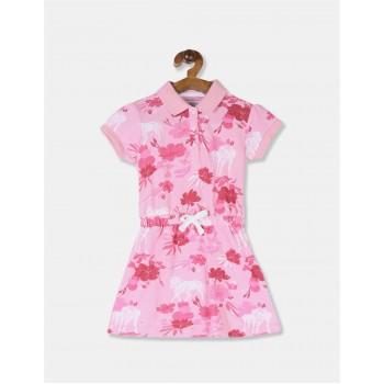 U.S Polo Assn. Baby Girl Printed Pink Dress
