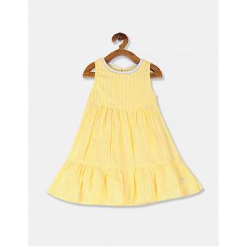 U.S Polo Assn. Girls Striped Yellow Dress