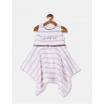 U.S. Polo Assn. Girls Striped White Dress