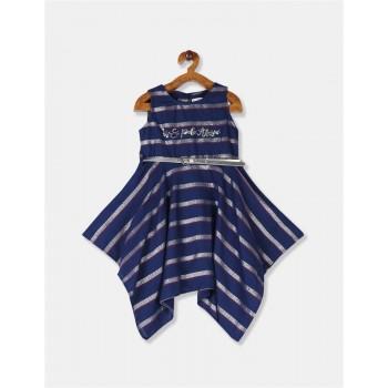 U.S. Polo Assn. Girls Striped Blue Dress