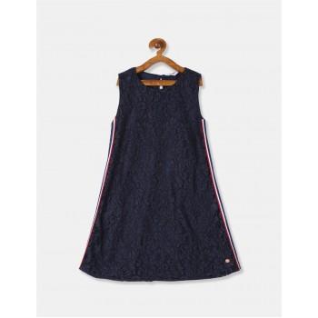 U.S Polo Assn. Girls Self Design Blue Dress