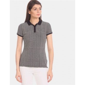 U.S. Polo Assn. Women Women Casual Wear Black  Polo Shirt