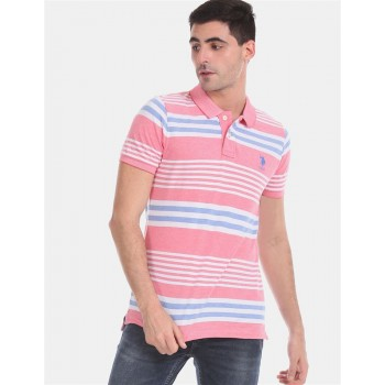 U.S. Polo Assn. Men Casual Wear Pink  Polo Shirt