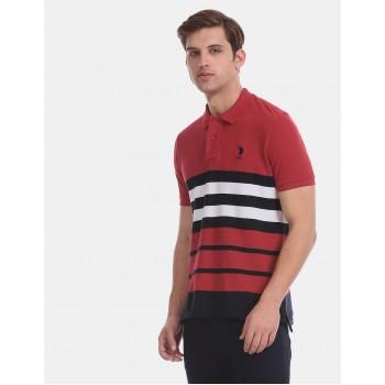 U.S. Polo Assn. Men Casual Wear Red  Polo Shirt