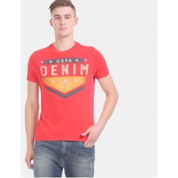 U.S. Polo Assn. Denim Co. Men Casual Wear Red  T-Shirt