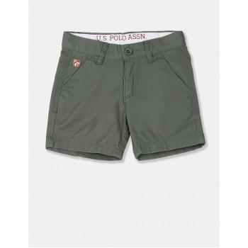 U.S. Polo Assn. Boys Solid Green Shorts