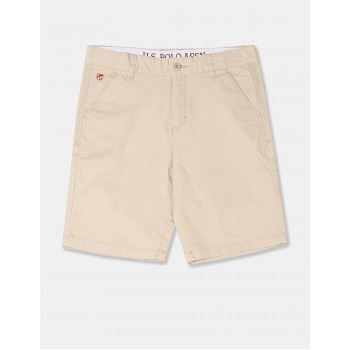 U.S. Polo Assn. Boys Solid Beige Shorts