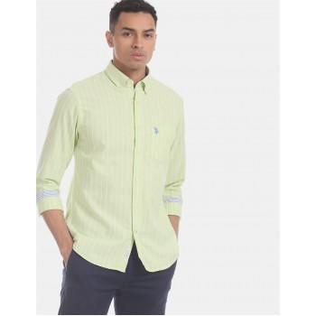 U.S. Polo Assn. Men Casual Wear Green  Shirt