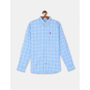 U.S Polo Assn. Boys Checkered Blue Shirt