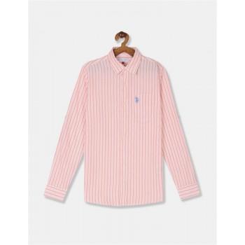 U.S. Polo Assn. Boys Striped Orange Shirt