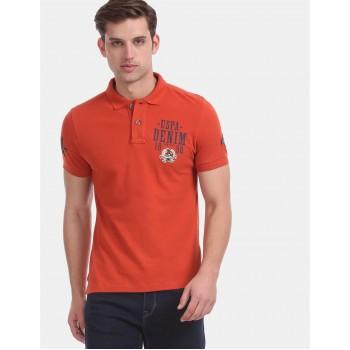 U.S. Polo Assn. Denim Co. Men Casual Wear Orange  Polo Shirt
