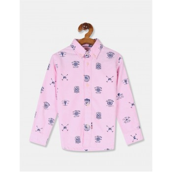 U.S. Polo Assn. Boys Printed Pink Shirt