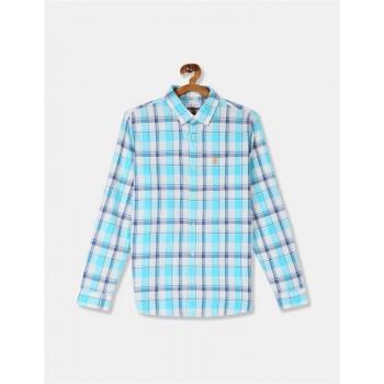 U.S. Polo Assn. Boys Checkered Blue Shirt