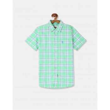 U.S. Polo Assn. Boys Checkered Green Shirt