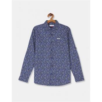 U.S Polo Assn. Boys Printed Blue Shirt