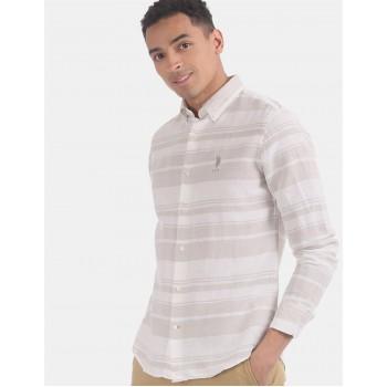 U.S. Polo Assn. Men Casual Wear Beige  Shirt