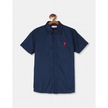 U.S. Polo Assn. Boys Solid Blue Shirt